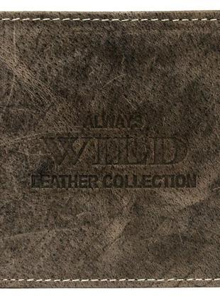 Винтажное кожаное портмоне ALWAYS WILD RMH03CFL коричневое