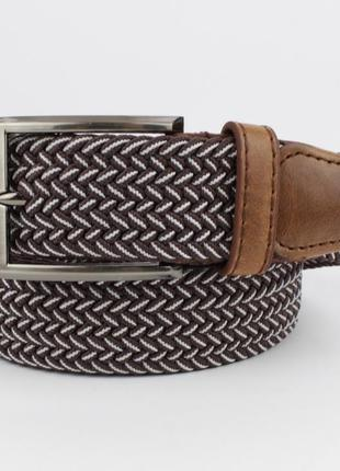 Плетеный ремень резинка alon 4900-112 коричневый меланж, ширин...