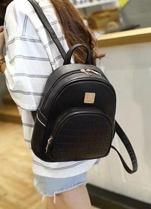 Модный женский мини рюкзак черный. женский рюкзачок маленький ...
