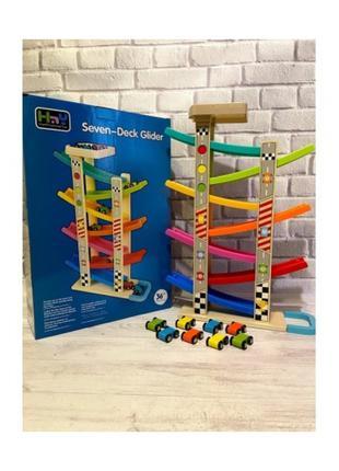 Детский деревянный игровой набор автотрек скоростной спуск Metr+