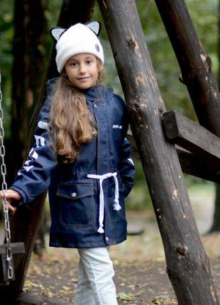 Джинсовая парка для девочки с искусственный мехом , детская + ...
