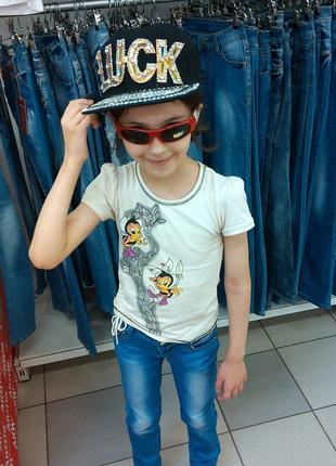 Джинсы со стразами для девочки tp jeans на 6-8 лет