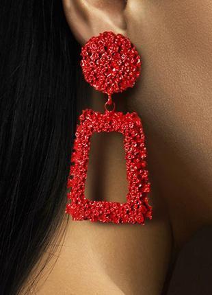 Вечерние серьги гвоздики красные в стиле zara сережки