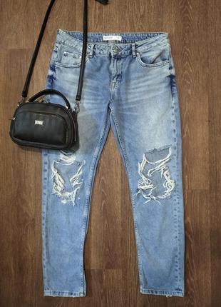 ❤️завышеные джинсы скинни мом zara рваные