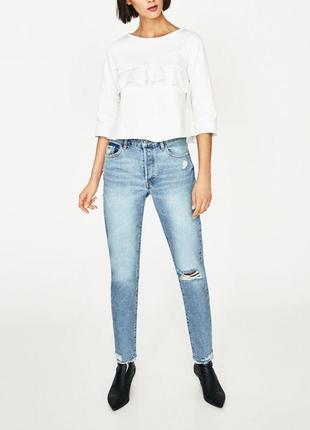 Красивая котоновая белая блуза zara