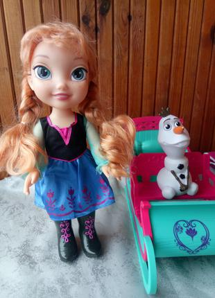 Большая кукла Анна в наборе с Олафом и санями Disney Frozen Adven