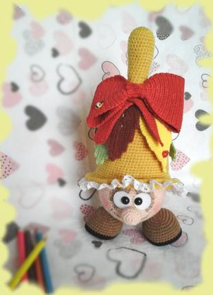 Игрушка сувенир амигуруми Колокольчик handmade