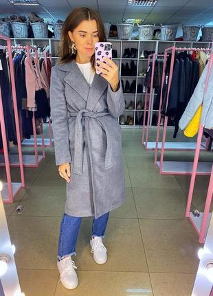 Тёплое шерстяное пальто на запах. серое пальто оверсайз...