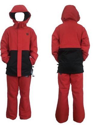Красный горнолыжный бордерский костюм volcom