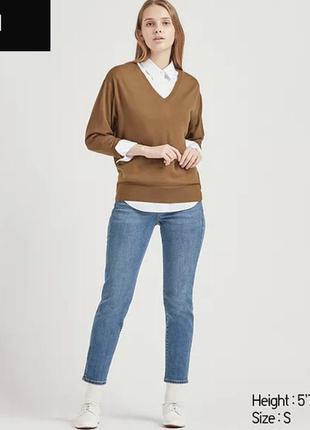 Женский свитер с шерсти мериноса шерстяной юникло uniqlo