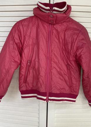 Детская розовая куртка весна осень 116 бомбер теплая