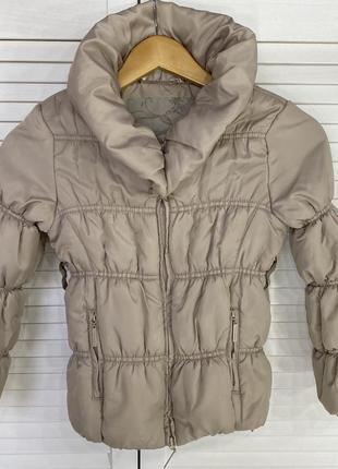 Детская коричневая бежевая теплая куртка осень весна пуховик 8...