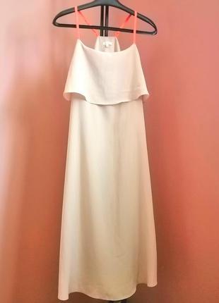 Шикарное нюдовое платье с яркими шлейками river island