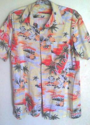 Летняя пляжная мужская рубашка в гавайском стиле, гавайка