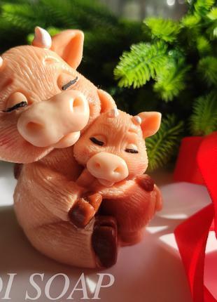 Мыло бычок, бычки, мыло ручной работы, новогоднее мыло
