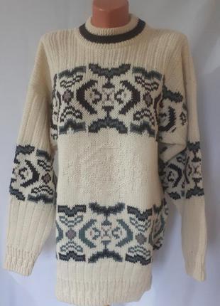 Винтажный шерстяной объемный свитер club (размер 40-42)