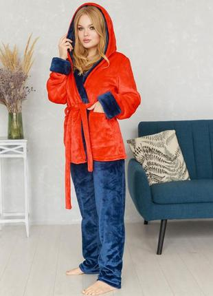 Mito пижама женская домашняя одежда плюшевый костюм халат и штаны