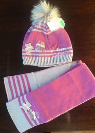 Детский комплект весенняя шапочка шапка и шарфик на девочку