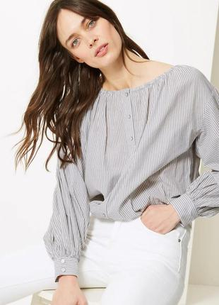 Блуза в полоску хлопок большой размер хлопок лимитированный вы...