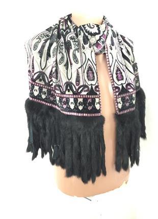 Шарф платок с натуральным мехом