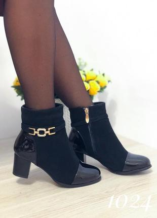 Черные женские ботинки на каблуке