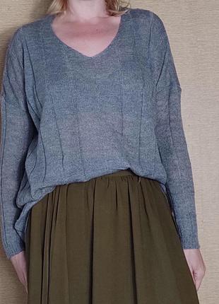 Серый свободный свитер кофта джемпер пуловер оверсайз