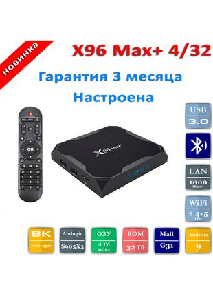 X96 Max Plus - 4/32 Настроена! Гарантия! Ориг. Смарт тв приставка