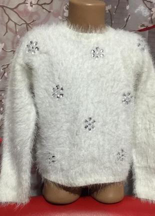 Нарядный,красивый свитер травка с камнями ,на 7/8 лет!состояни...