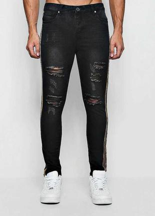 Мужские рваные джинсы с лампасами размера 34 r