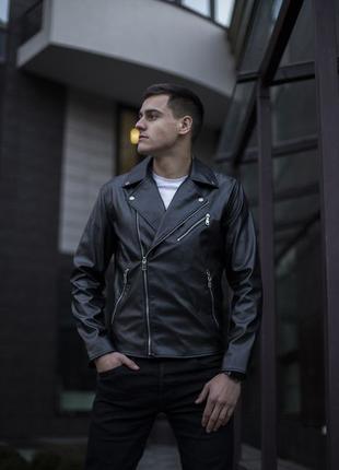 Косуха Harley Мужская Кожанка Черная Кожаная Куртка из Экокожи...