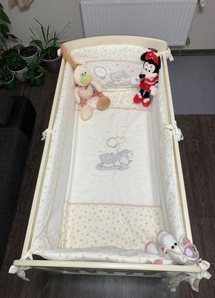 Кроватка с матрасом, ящиком и маятниковым механизмом 60*120 Teddy