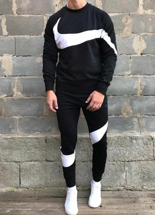 Мужской спортивный костюм Nike. Черный(утепленный на флисе)