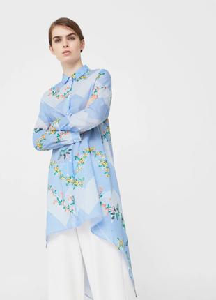 Рубашка платье длинное в полоску с цветами голубое