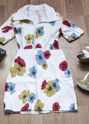 Летний костюм юбка и рубашка короткий рукав белый в цветочек