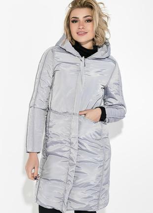 Пальто зимнее женское однотонное, теплое 0008476 серебро