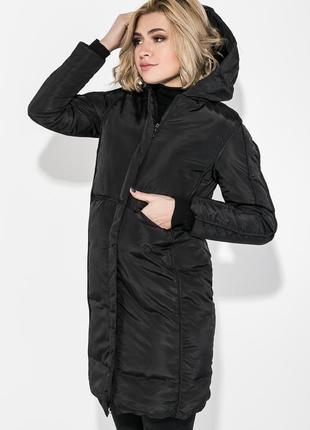 Пальто зимнее женское однотонное, теплое 0008476 черный