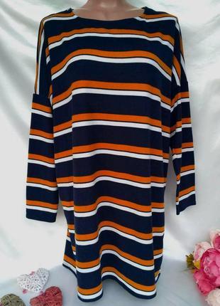 Стильное теплое платье в полоску размер 16-18(48-52)