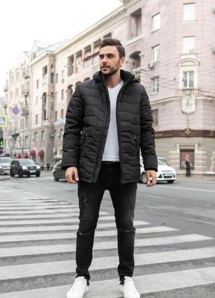 Теплая мужская зимняя куртка с капюшоном