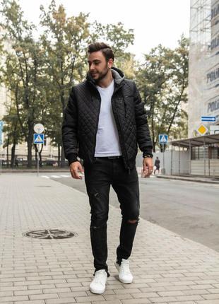 Теплая мужская зимняя куртка с капюшоном короткая