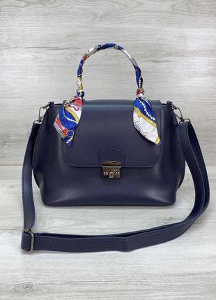 Женский классический базовый синий клатч синяя сумка кросс бод...