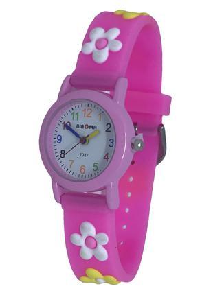 Часы детские наручные яркие розовые Цветочки для девочки