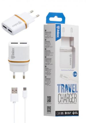 Зарядное устройство USB inkax CD-11 2USB 2,1A +шнур micro-usb