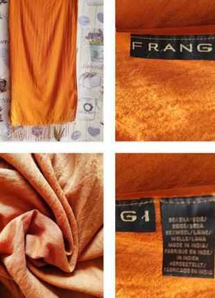 Яркий шарф палантин терракотового цвета из шелка и шерсти !