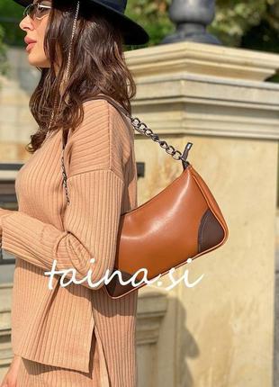 Женская рыжая сумка багет наплечная сумка рыжий клатч багет кр...