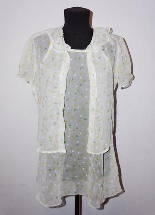 Платье блузка прозрачные комплект
