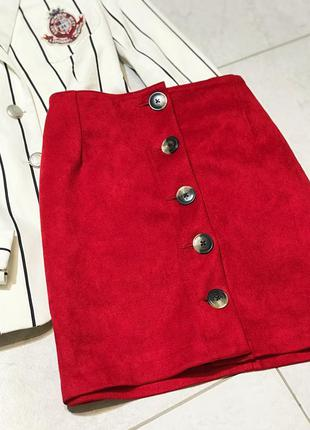 Замшевая юбка на пуговицах юбка-трапеция