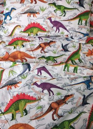 Постельное полуторное белье динозавры