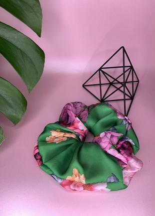Резинка для волос в цветы большая с лентой