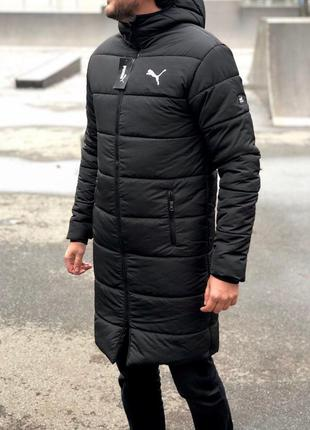 Мужская длинная куртка пуховик пальто зимнее