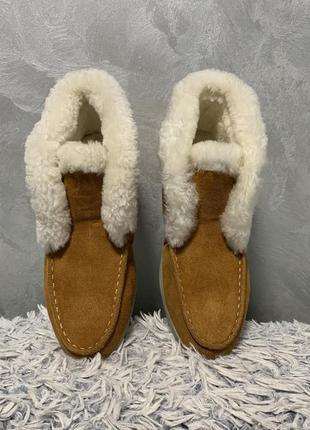 Ботинки зимние угги мокасины с мехом замшевые лоферы в стиле l...